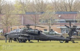 Boeing AH-64D Apache after an emergency landing on a sports field