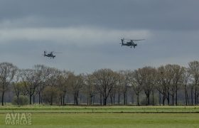 Two Apaches flying over the treetops