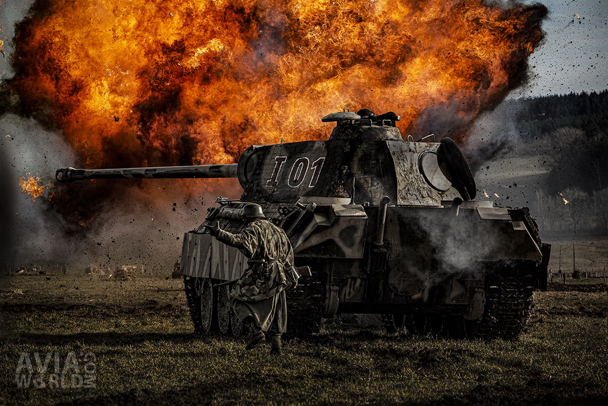 German Panther Tank with Explosion