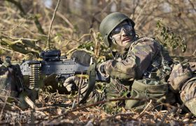 Air Assault infantry soldier with MAG machine gun