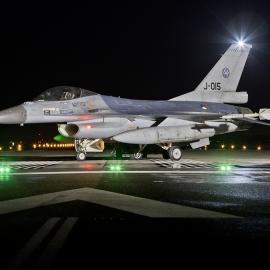 RNLAF Klu F-16A MLU J-015 Night Flying at Volkel AB