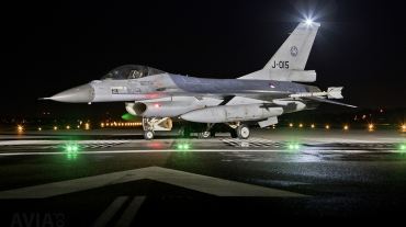 RNLAF Klu F-16A MLU J-015 Night Flying at Volkel AB