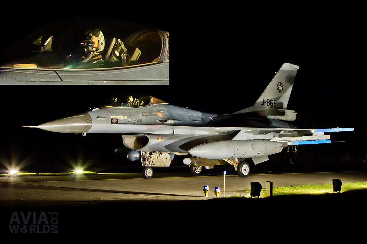 RNLAF Klu F-16A MLU J-866 Night Flying Pilot with Goggles