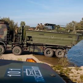 105 BrugCompagnie building a Folding Float Bridge over river IJssel near Olst