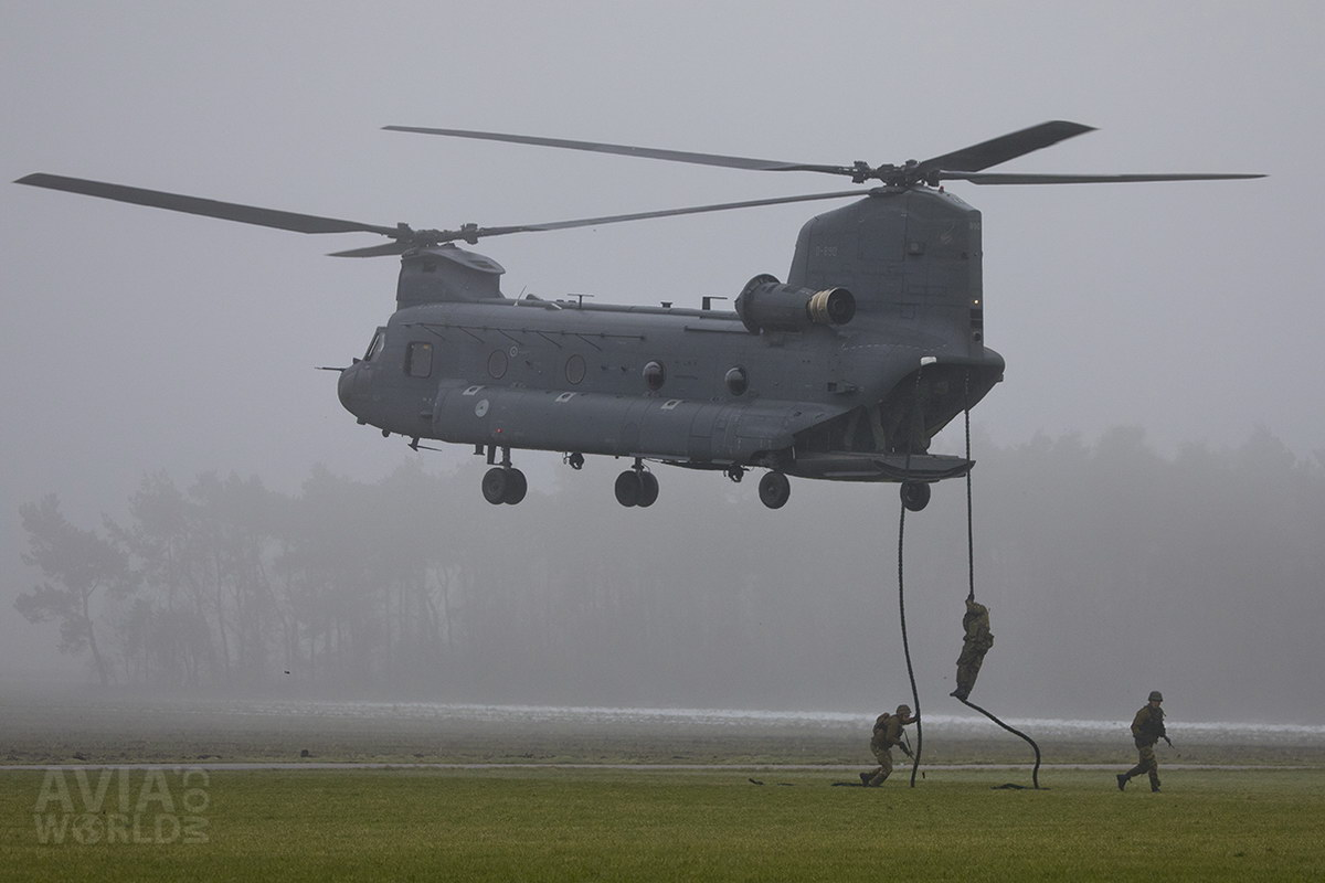 Fast Roping from a Chinook Helicopter