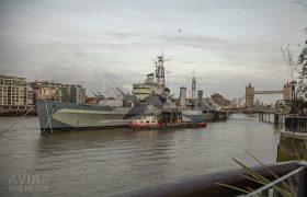 HMS Belfast with Tower Bridge in London