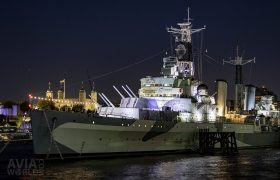 HMS Belfast with the Tower of London