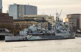 HMS Belfaston the River Thames