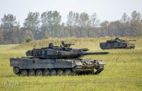 Leopard 2A6MA2 and CV9035 on the move