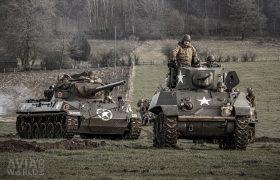 Stuart light tank and M18 Hellcat tank destroyer