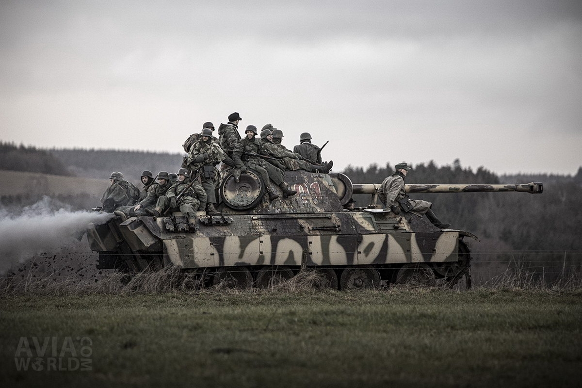 Wehrmacht Soldiers on a Panther Tank