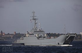 Polish Navy Lublin class or Projekt 767 minelayer-landing ship ORP Gniezno (822)