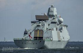 The Royal Danish Navy Iver Huitfeldt-class frigate warship HDMS Iver Huitfeldt (F361) leaving Kiel